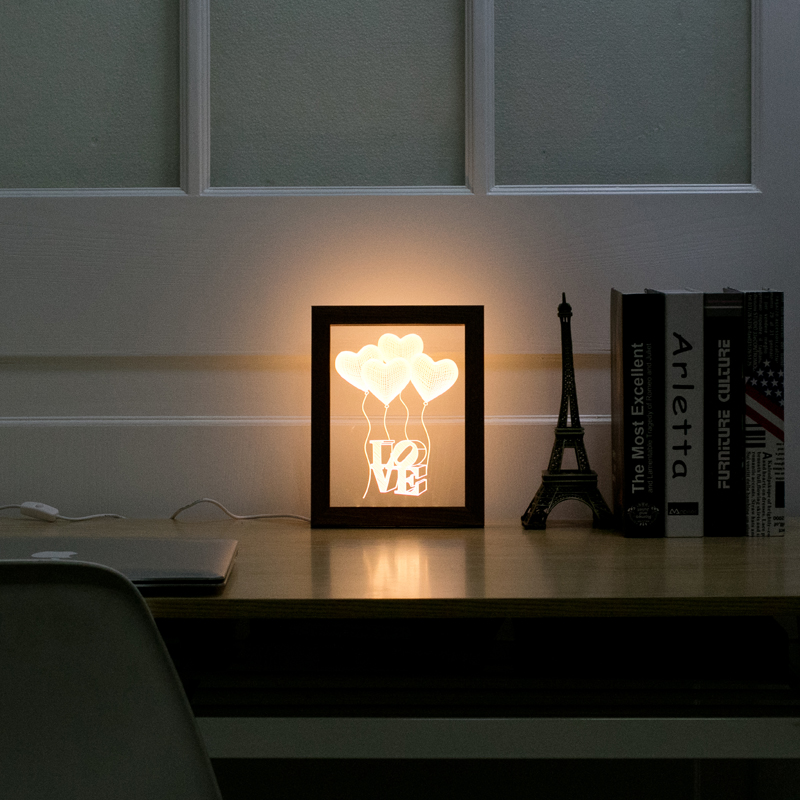 Heart Balloon Patterns Wood Frame Small 3D Night Light Creative Acrylic Photo Frame With Lamp Decoration USB Desk Lamp