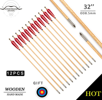 LongbowMaker One Dozen Traditional Handmade Archery Hunting Wooden Arrows Red Feathers Target Bullet Points