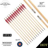 LongbowMaker Jeden Kilkanaście Tradycyjnych Handmade Łucznictwo Polowanie Drewniane Strzałki Red Piór Docelowej Bullet Punktów