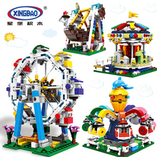 цена на Friends Series Building Blocks Compatible Legoings The City Park Carousel Pirate Ship Ferris Wheel Girl Bricks Toys Kids Gifts