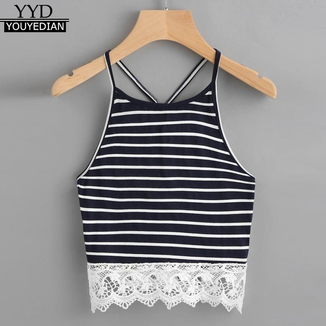 b60449bde5b Summer Tank Tops For Women 2018 Tunic Striped Lace Patchwork Sleeveless  Tops Sexy Hollow Out Spaghetti Strap Clothes Women