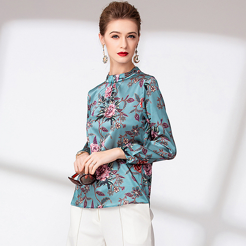 Blouse Vrouwen Shirt 100% Zware Zijden Gedrukt Vintage Design Stand Hals Lange Mouwen Elegante Stijl Office Top Nieuwe Mode 2019-in Blouses & Shirts van Dames Kleding op  Groep 1