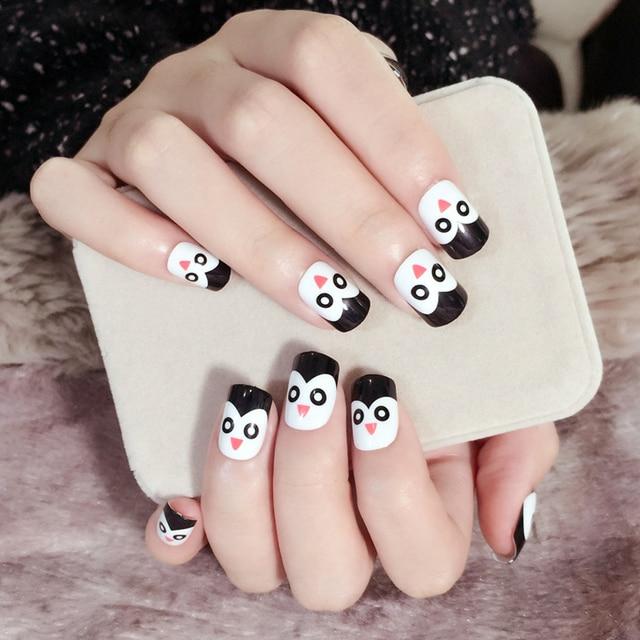 Yunail 24pcs Short Fake Nails Penguin Cute Overhead Black White Acrylic Tip Unhas