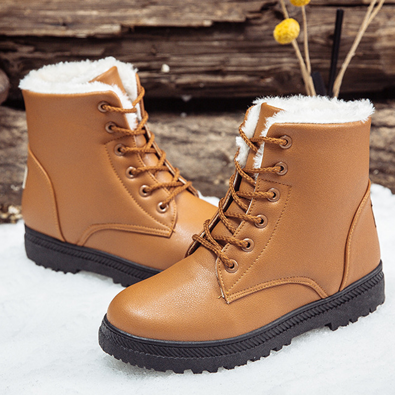 Snow Boots For Women Waterproof Large Size 9-12 Classic Woman Winter Boots Leather Plush Warm Shoes Woman Female Ankle Boots