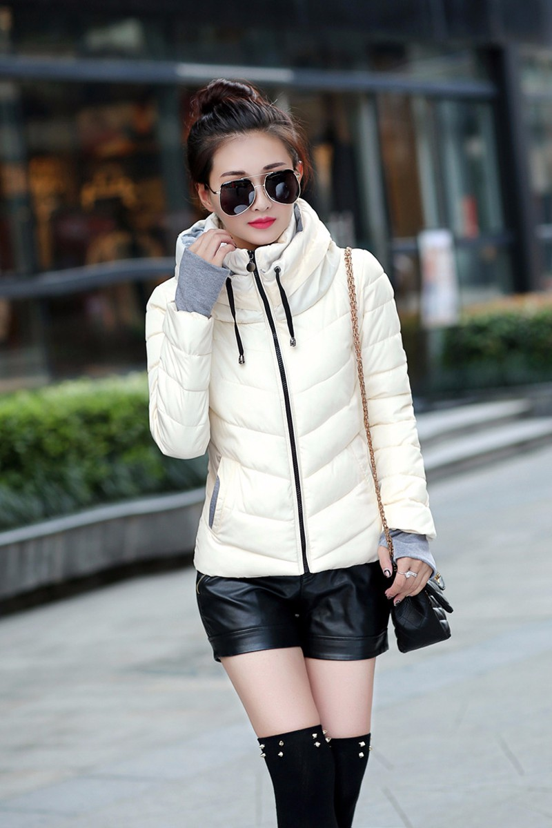 Winter Jacket Women Parkas Thicken Outerwear solid hooded Coats Short 22