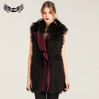 Raccoon Dog Fur Strip Sewed Toghter Real Fur Coat Stylish Women Coats 2018 Winter Fur Vest Is 76 cm Fur Natural Long Coat Women