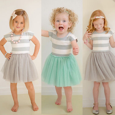 Baby Girls Toddler Kid Clothes Dresses Summer Sleeveless Princess Striped Ball Gown Cute One-piece Dress Formal 2 3 4 5 6 7 Year To Clear Out Annoyance And Quench Thirst