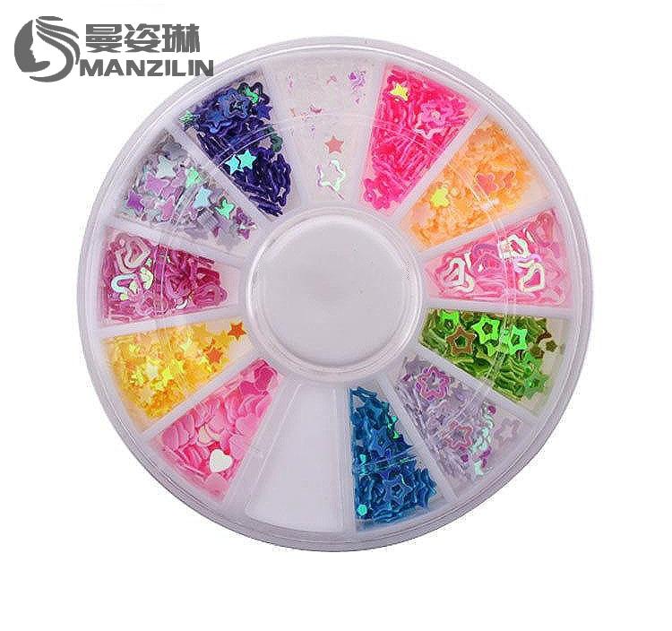 купить MANZILIN SP0001-12 Glitter Nail Art Decorations,3mm 4mm 500pcs/set Mixed Design Nail Sequins,Manicure Wheel Nail Beauty Tools по цене 55.74 рублей