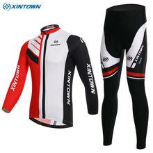 XINTOWN Men Team Cycling Jersey Ropa Ciclismo Long Sleeve Tops Bicycle Bib Pants Racing Clothing Sports Wear
