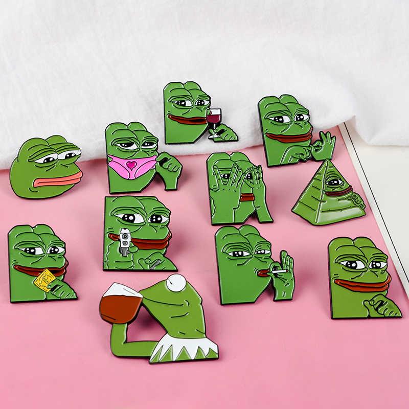 Pepe O Meme Pinos Esmalte Sapo Coleção Emblemas Broches de Pino de Volta Se Sente Mal Homem Bom Homem Broche