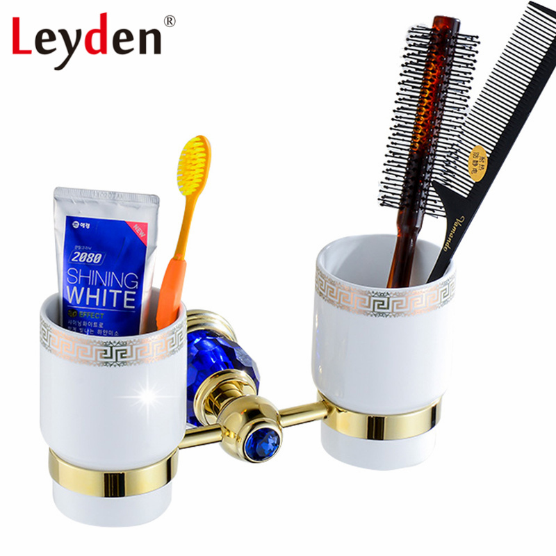 Leyden Luxury Gold Finish Blue Crystal Double Cup Tumbler Holder Brass Wall Mounted Toothbrush Tumbler Holder Bathroom Accessory luxury golden brass three cup holder luxury style golden copper toothbrush double tumbler 3pcs cup holder wall bath cup rack