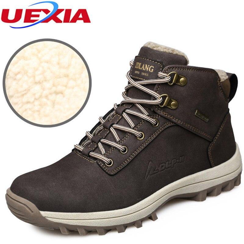 Мужская обувь зимние теплые меховые зимние ботинки Мужская обувь Спортивная обувь Российской ПУ ковбой круглый носок мужские зимние ботильоны на резиновой подошве