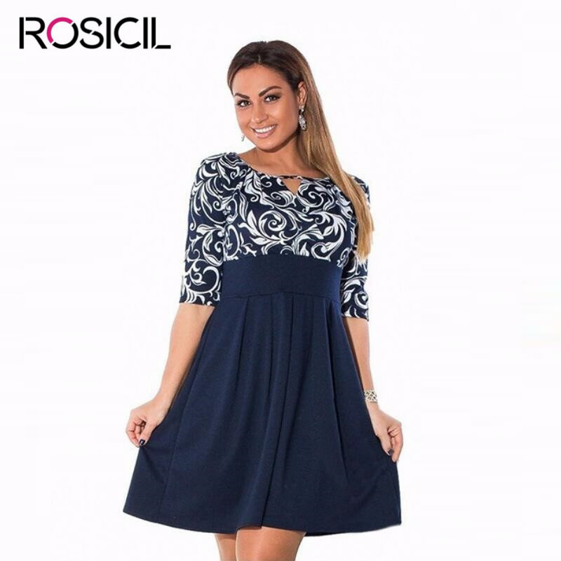 New Fashion Casual Plus Size Women Work Dresses Summer Tunics Gowns ...