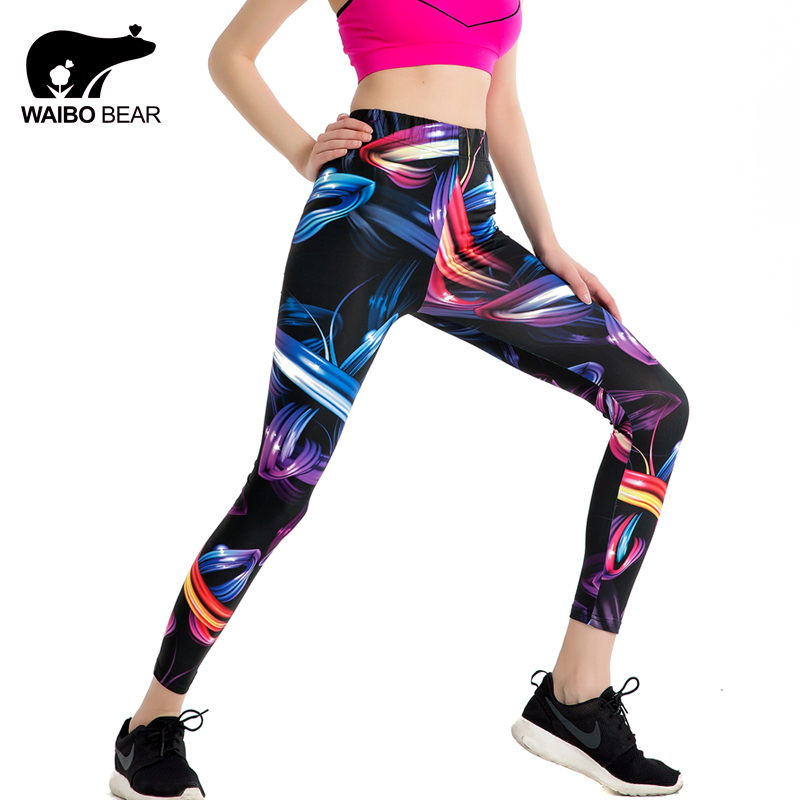 New 2018 Design Leggins Fashion style Elastic Graffiti Spray ribbon Legins Printed Women ...