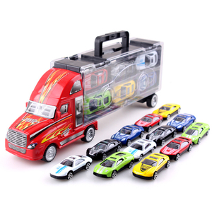 Image 3 - 1/24 Scale Storage Container Truck Plastic Vehicles Toys With Diecast Mini Car Hot Alloy Auto Wheels Magic Tracks Cars For Kids