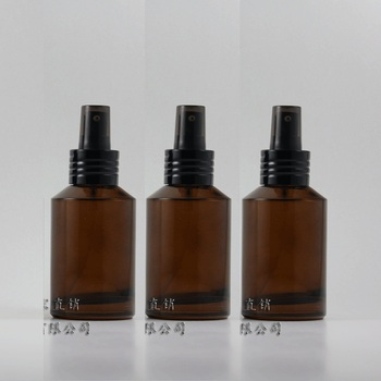 50pcs empty 125 ml round glass amber lotion packaging with aluminum black pump, 125ml glass cosmetic bottle for liquid cream