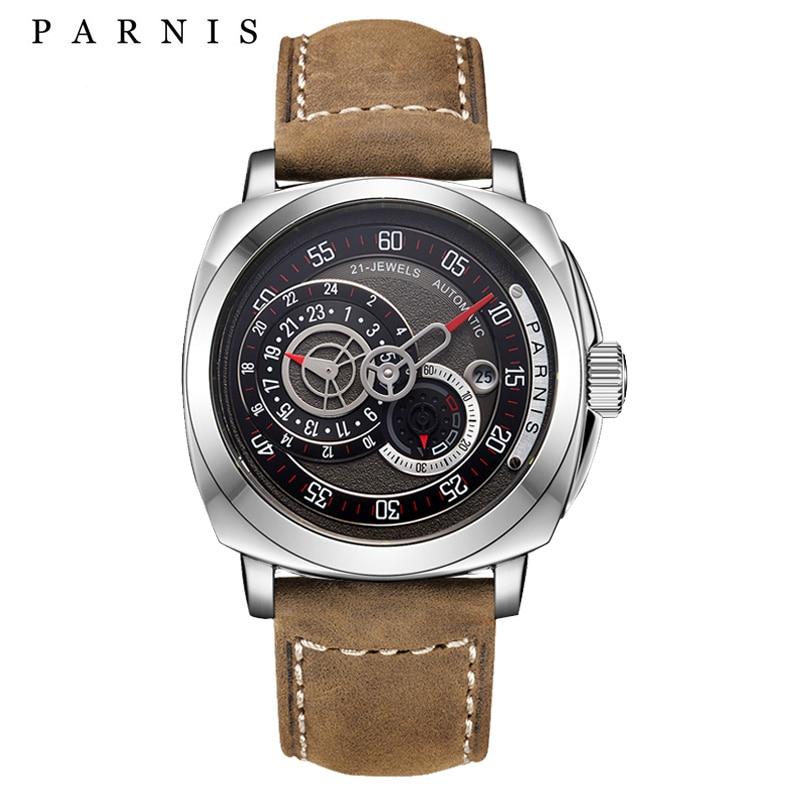 Nouveauté montres hommes 44mm Parnis horloge automatique 100 m étanche nager lumineux cadran carré militaire Sport mécanique montre