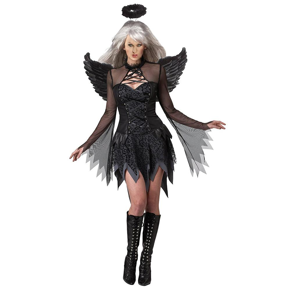 Adults Angel of Perversion Holiday Costume Ball Party Cosplay Clothes Headdress + Dress + Wings