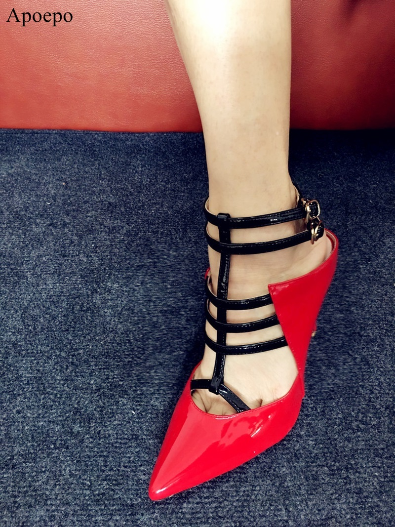 Sexy Summer Woamn T-strap Ladies Sandals Woman High heels Pumps Woman Party Wedding Shoes Pointed Toe Buckle Strap Pumps J005 2017 wedding sandals high heels pumps summer t stage sexy wedding shoes for party sandals peep toe buckle trap