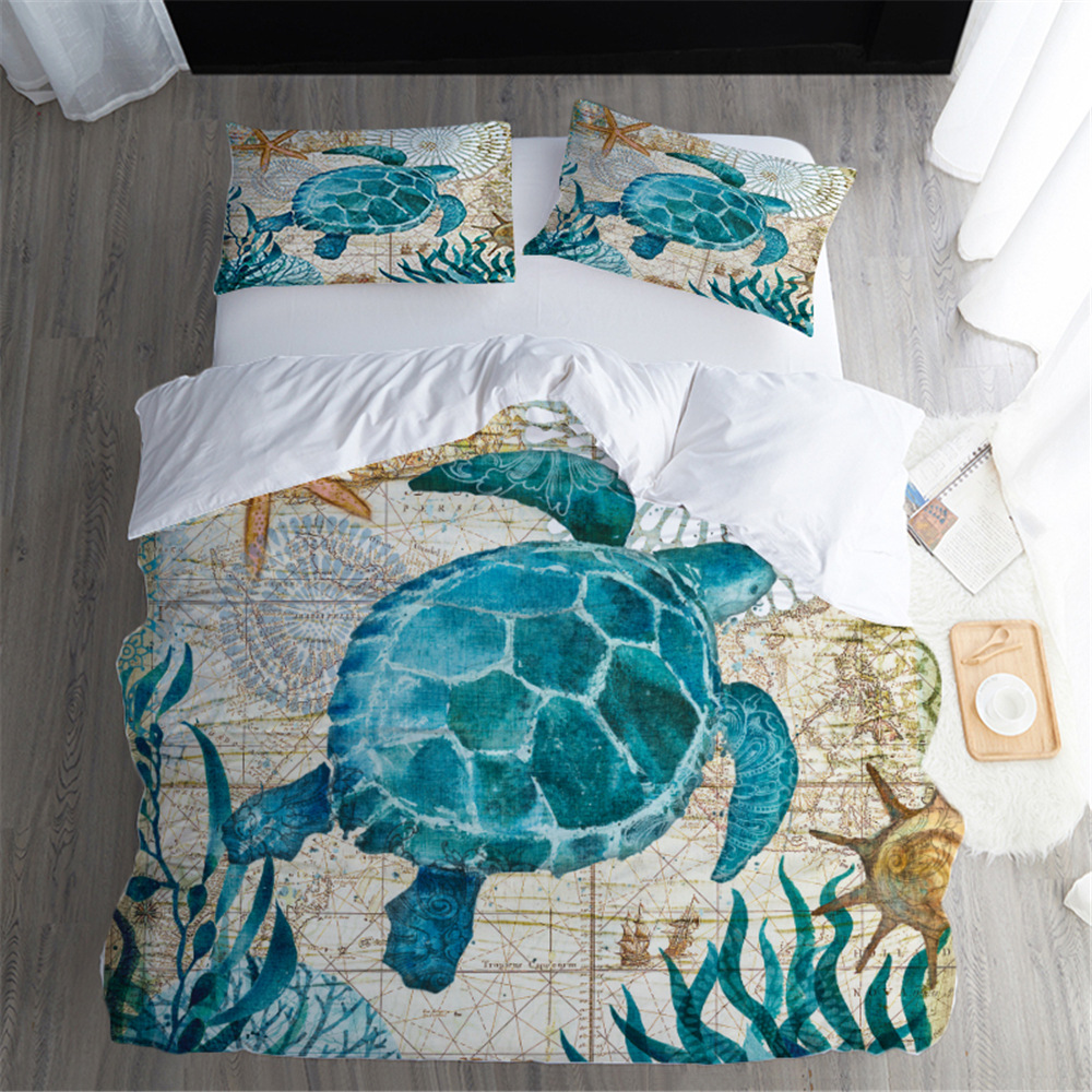 3D Green Sea Turtle DUVET COVER SET 3D Bed Linen Set 3pcs/set Octopus Whale Blue Bedding Set Home AU Queen Size Bedcloth 210*210