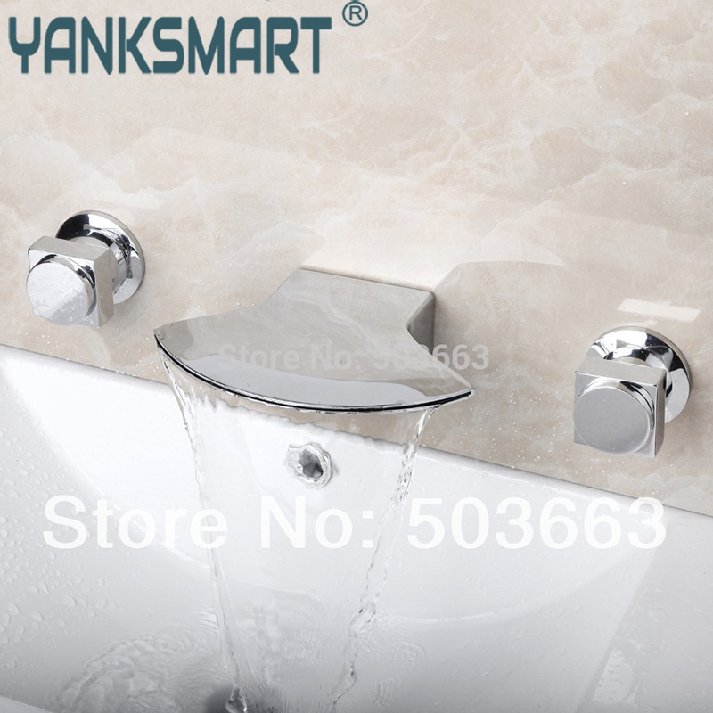 Bathtub Faucet Wall Mounted Faucet Two Handles Widespread Waterfall Bathroom Bathtub Faucet Chrome Tap Mixer цена