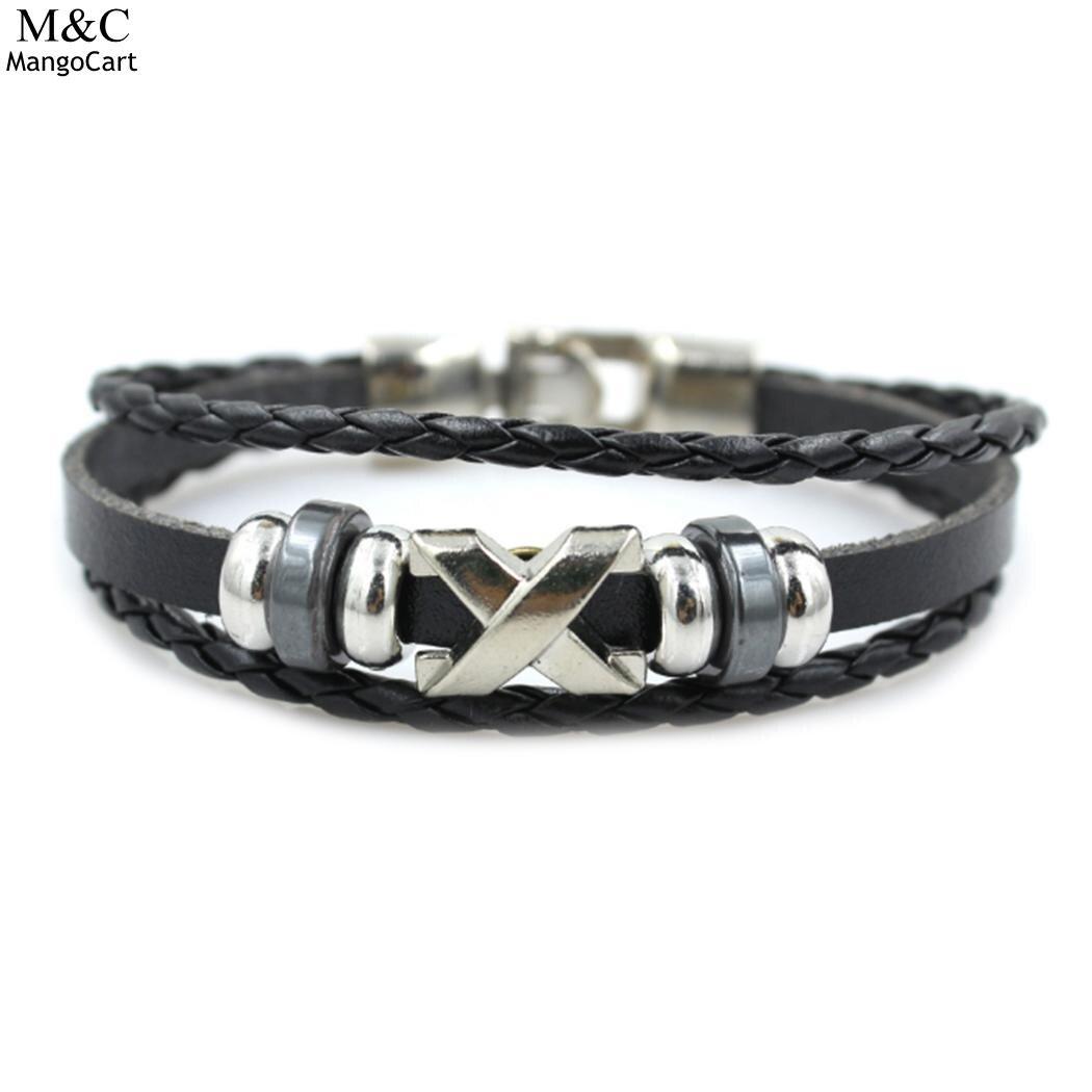 Letter Leather Unisex Women Men Style Braided Multilayer Bracelet Synthetic Vintage Beads