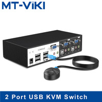 MT Viki USB KVM Switch 2 Port VGA Switcher Hotkey Wired Remote Control with Audio Mic Original Cable Power Adapter MT 0201VK