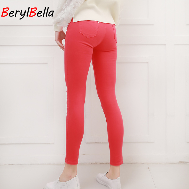 Women Pants Candy Jeans 2018 Spring Fall Pencil Pants Slim Casual Female Stretch Trousers White Jean pantalones mujer BerylBella 2