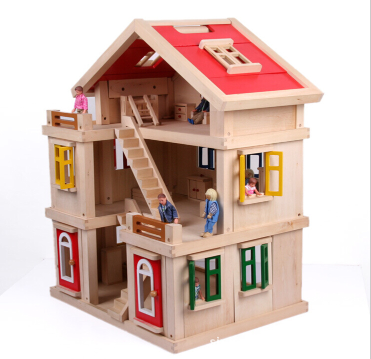 Toys For House : Children three dolls toy house large villa suit girls play