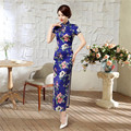Brand New Blue Chinese Women Classic Satin Qipao Female Summer Sexy Long Cheongsam Dress Flower Tops Plus Size XXXL C0053-A