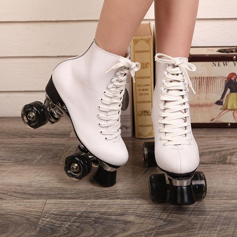 Prix pour Double Patins à roulettes Blanc Véritable En Cuir Avec Led Roues Deux Côté De Patins À Roulettes Patins Dame Patins Patins Adultes Chaussures de Skate
