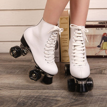 Double Roller Skates White Genuine Leather With Led Wheels Two Side Roller Skate Patins Lady Skates Patins Adult Skate Shoes