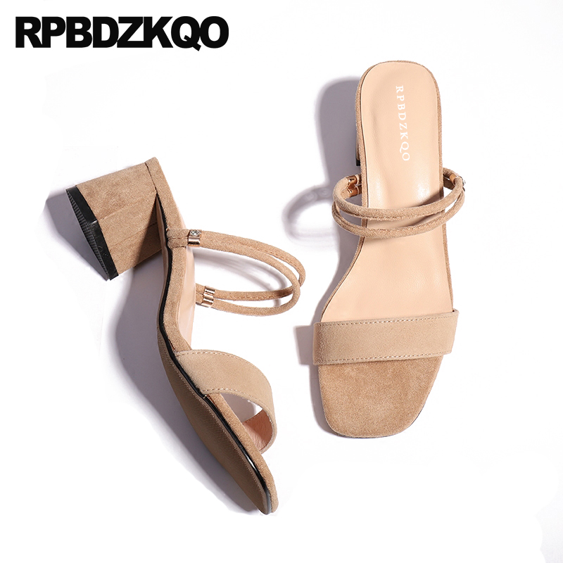 Nude Chunky Slides Strap Open Toe Heels Summer Sandals Slip On Designer High Women Luxury Shoes Thick Ladies Pumps Elegant ankle strap chunky elegant cool designer pointed toe pink high heels sandals women fashion 2018 summer shoes cross pumps closed