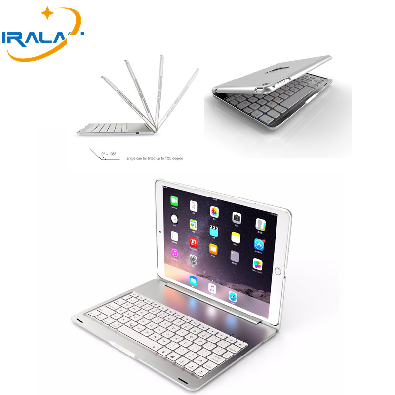 2018 hot Metal High-Quality 7 Colors Backlit Light Wireless Bluetooth cover For iPad Pro 10.5 keyboard case + Stylus+ film aluminum keyboard case with 7 colors backlight backlit wireless bluetooth keyboard