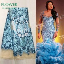 Lace-Fabric Net-Material Embroidered Sequined Sky-Blue French Color African Mesh Beautiful
