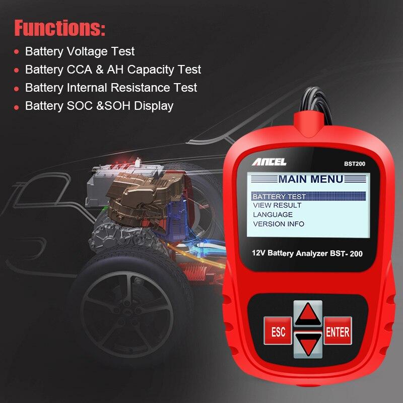 ANCEL Bst200 Voiture testeur de batteries Multi-langue 12 V 1100CCA système de batterie Détecter Automobile De Voiture Mauvais Cellulaire Batterie Outil De Diagnostic - 3
