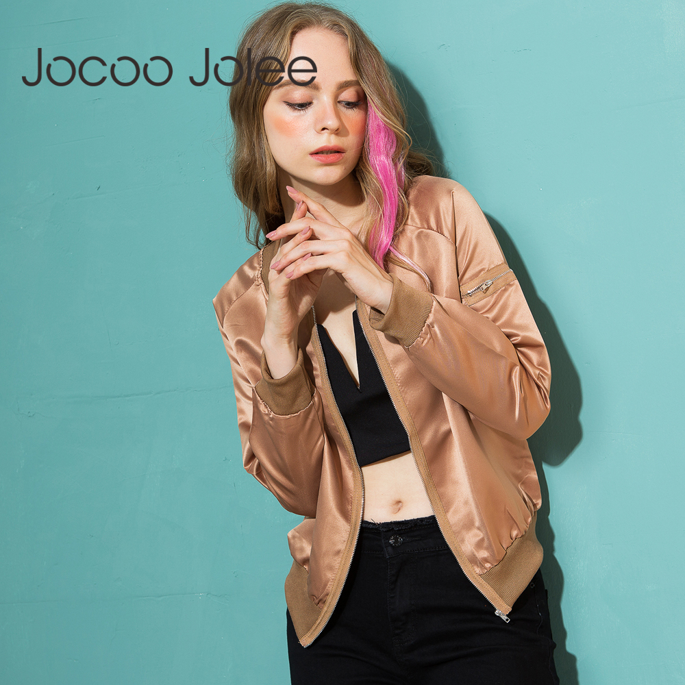 Jocoo Jolee 2018 Womens Autumn Casual   Jackets   Ladies Zipper Stand Collar Long Sleeve   Basic     Jacket   Coat Bomber   Jacket   Outwear
