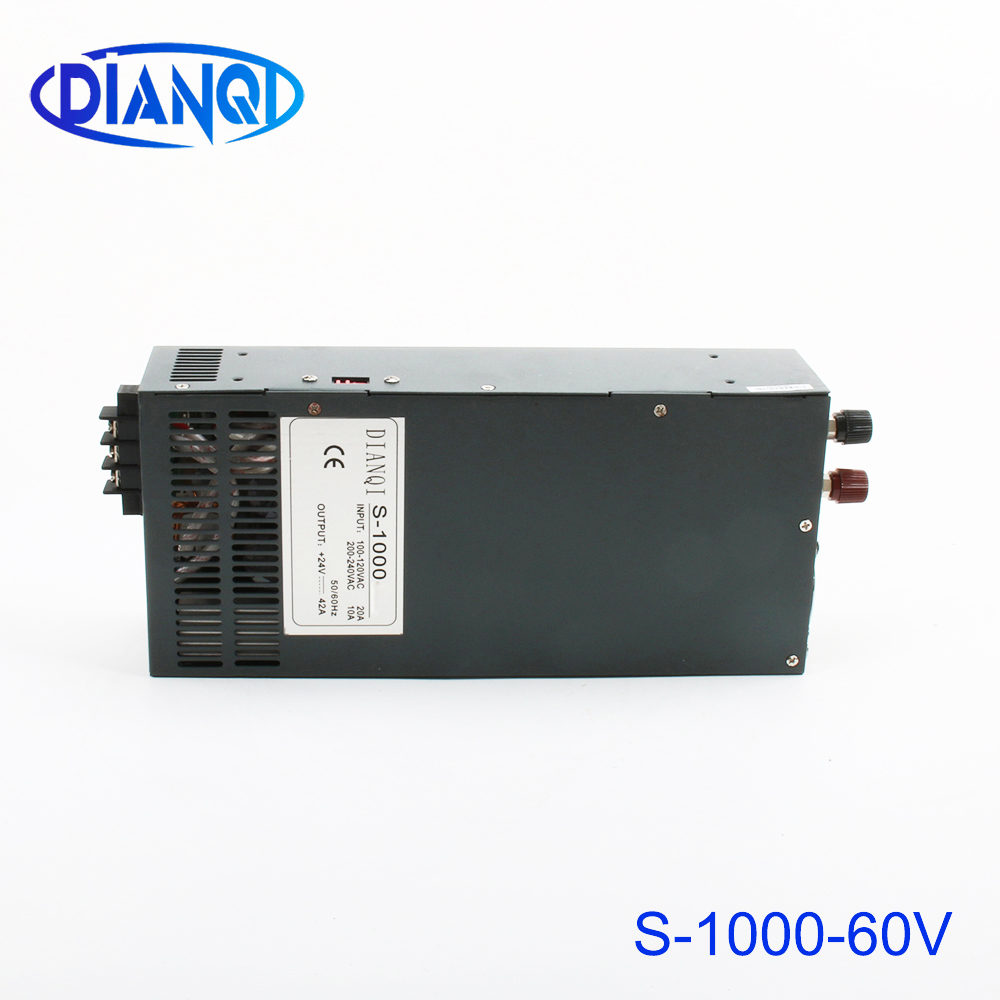 DIANQI Switching power supply 1000W 60V 16a AC to DC input 110v or 220v select by switch 1000w ac to dc power supplyDIANQI Switching power supply 1000W 60V 16a AC to DC input 110v or 220v select by switch 1000w ac to dc power supply