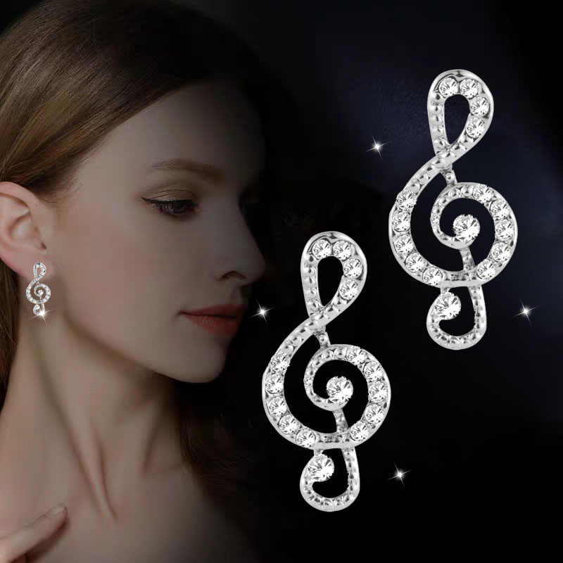 SINLEERY Romantic Sparkling Rhinestone Musical Note Stud Earrings Rose Gold Silver Color Jewelry For Women Girl Party ES037 SSD