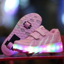 Children Luminous Shoes Girls Boys LED Light Shoes With Wheels Roller Skate Shoes For Kids Sneakers