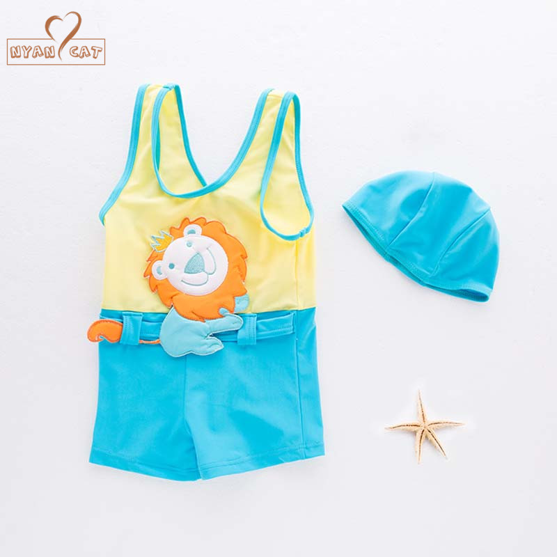 NYAN CAT Baby boy swimsuit sleeveless swimwear +hat lion infant toddler kids children spa vacation swimming pool clothing set