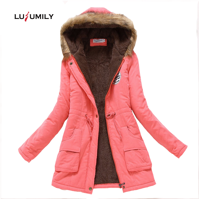 Lusumily New Winter Military Coats Women Cotton Wadded Hooded Jacket long Casual   Parka   Thickness Plus Size 3XL Coat Snow Outwear