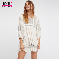 Jastie Wild One Embroidered Top Oversized Casual Tunic Top Blouse Open Strappy Back Sexy Boho Chic