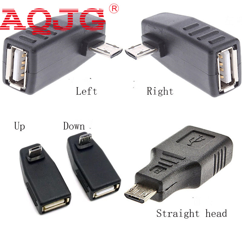 Micro usb Male to usb Female USB OTG Right Left degree Adapter Converter  90 degree Up Down Micro usb2.0 For Mp3 360 degree male 2pcs 90 degree up