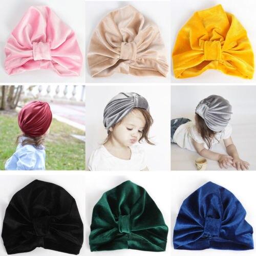 Mode Baby Mädchen Turban Headwear Einfarbig Bogen Knoten Stirnband Wrap Baumwolle Prinzessin Großhandel Headwear