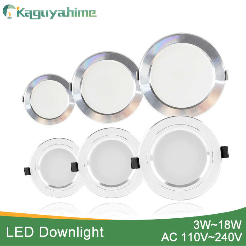 Kaguyahime LED ספוט אור 5 W 9 W 15 W 18 W כסף לבן Ultra דק AC 110 V 220 V עגול שקוע LED Downlight LED ספוט תאורת 12 W