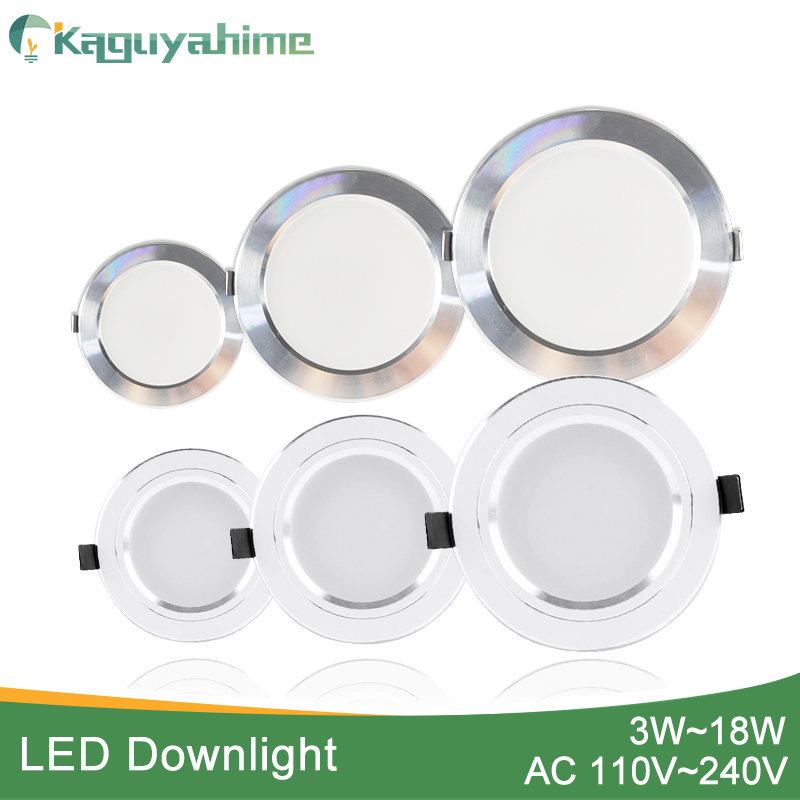 Kaguyahime LED Spot Light 5W 9W 15W 18W Silver White Ultra Thin AC 110V 220V Round Recessed LED Downlight LED Spot Lighting 12W