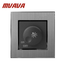 MVAVA Dimmer Switch Luxury Silver Satin Metal Brushed Metal UK EU Standard 500W Rotary Dimer Lamp Lightness Control Wall Switch