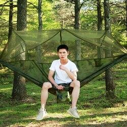 1-2 pessoa ao ar livre mosquito net parachute náilon hammock acampamento pendurado cama de dormir balanço portátil cadeira de rede de viagem dupla