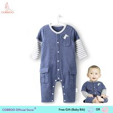 f484ed98442d Newborn Baby Boy Clothes Summer Rompers 0 24 Months Stripe Boys Shirts  Clothes Baby Clothing Baby Jumpsuit 1 Year Old CW150019